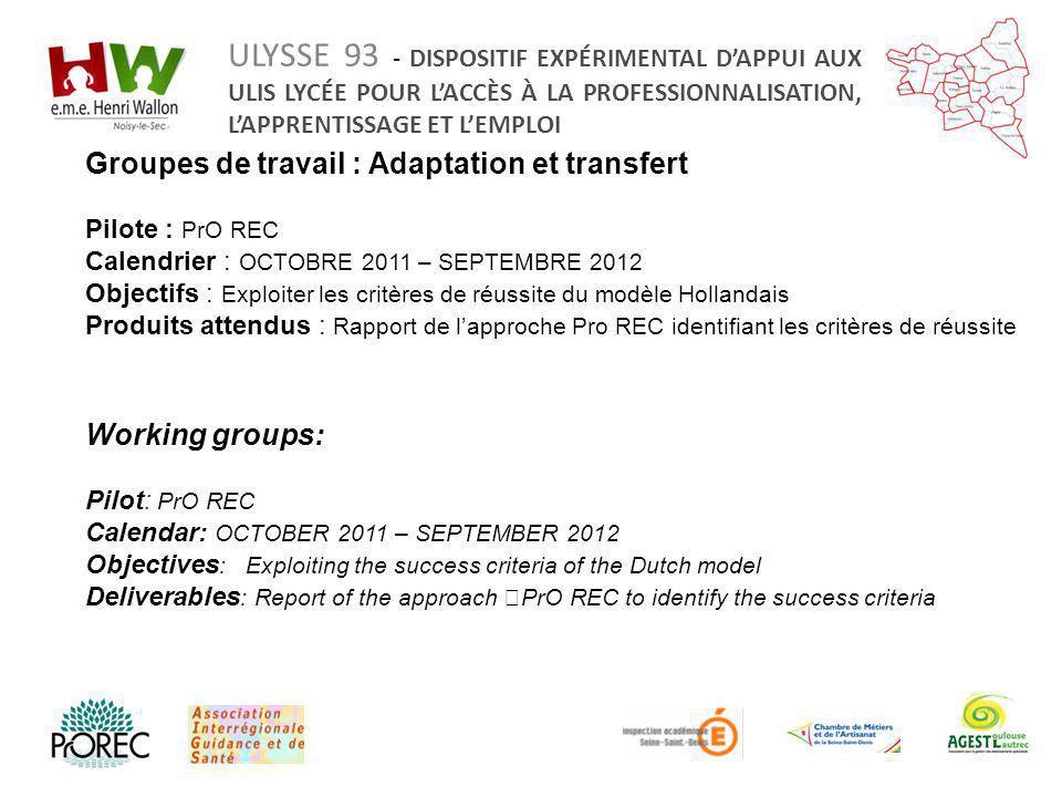 Groupes de travail : Adaptation et transfert