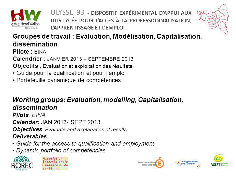 Working groups: Evaluation, modelling, Capitalisation, dissemination