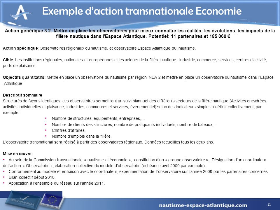 Exemple d'action transnationale Economie