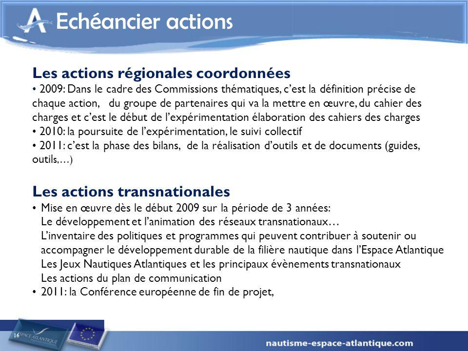 Echéancier actions Les actions régionales coordonnées