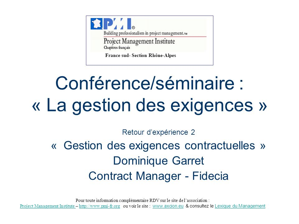 Conférence/séminaire : « La gestion des exigences »