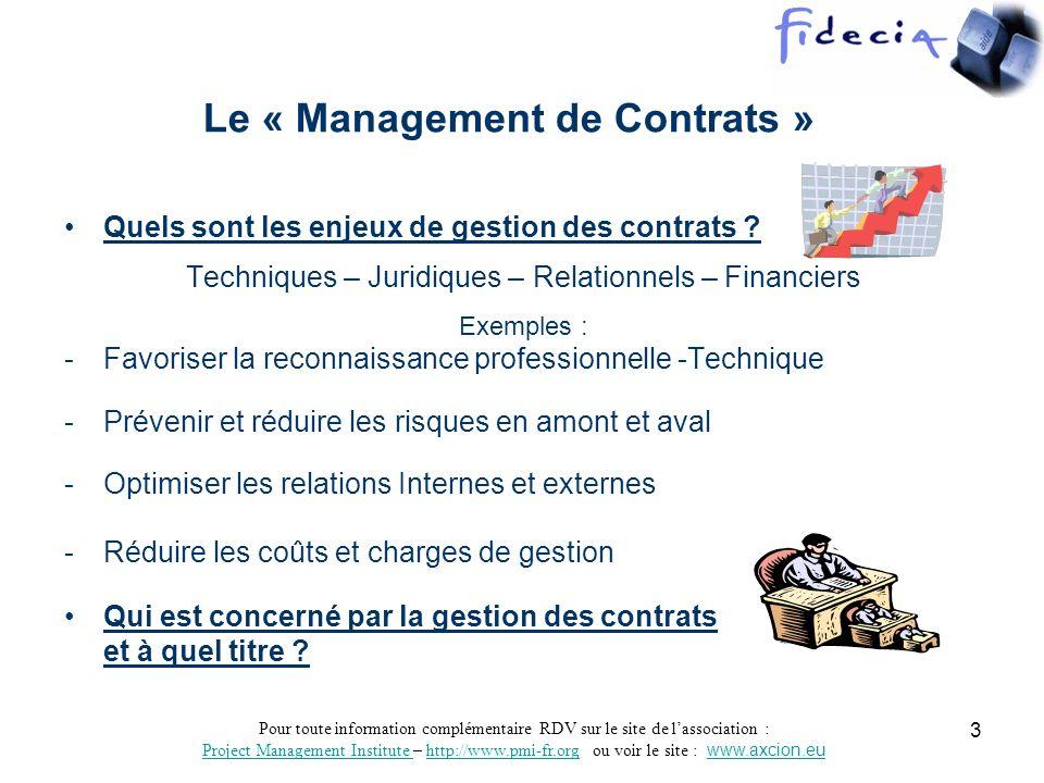 Le « Management de Contrats »