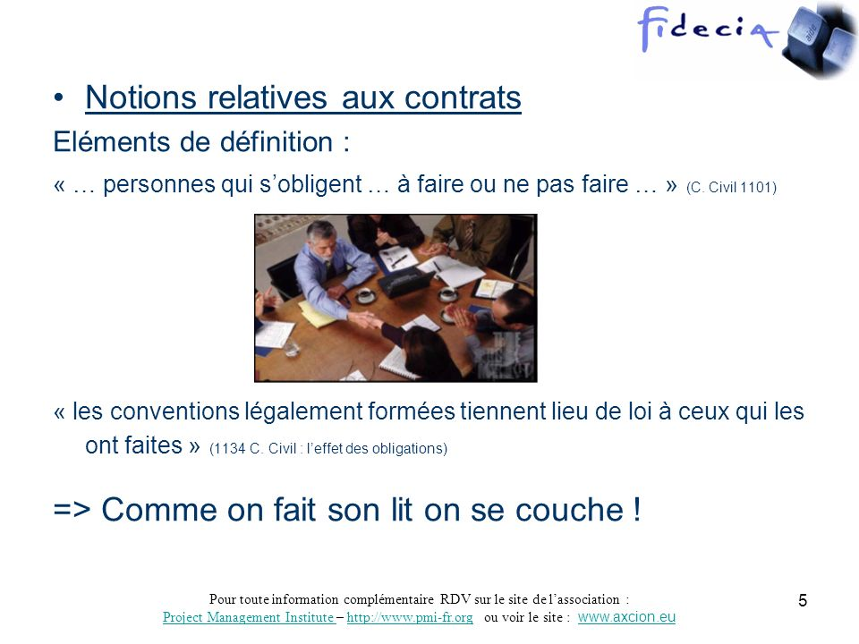 Notions relatives aux contrats