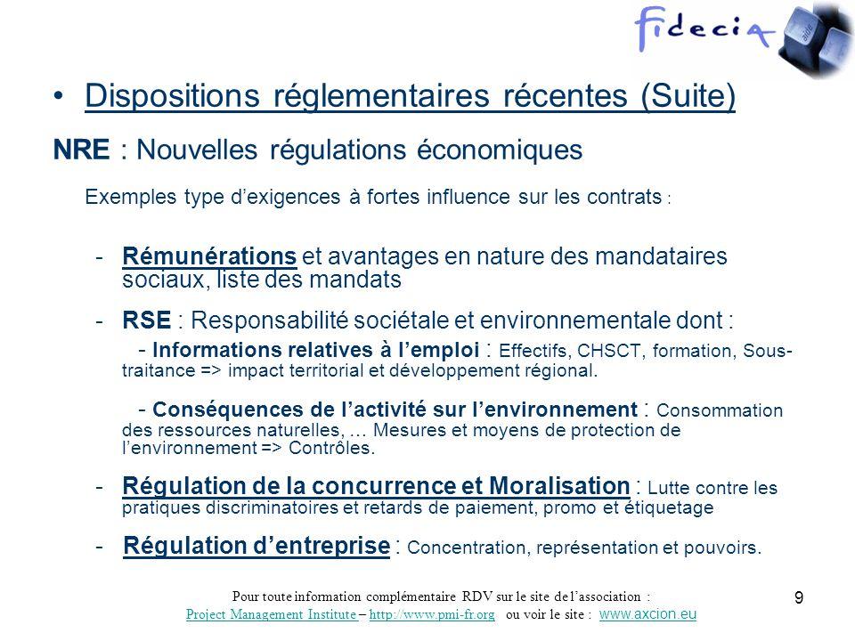 Dispositions réglementaires récentes (Suite)