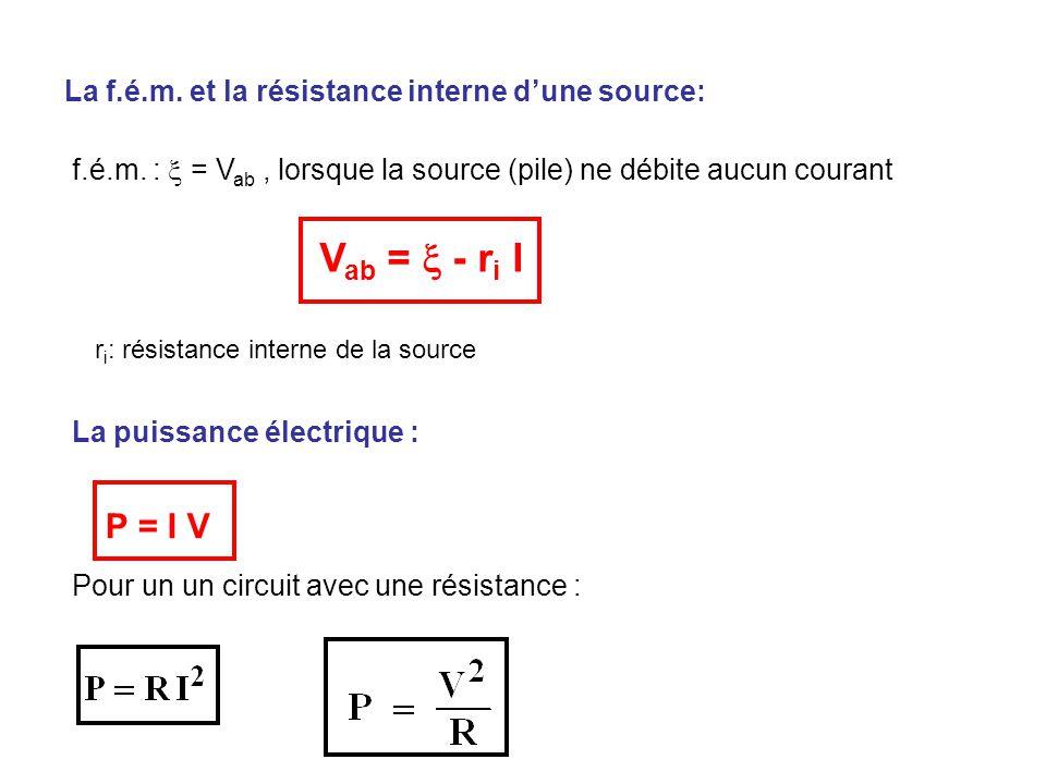 La f.é.m. et la résistance interne d'une source: