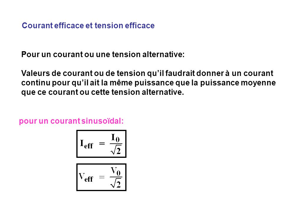 Courant efficace et tension efficace