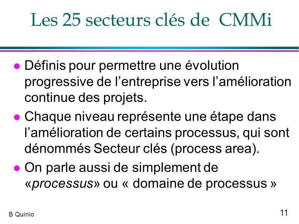 Les 25 secteurs clés de CMMi