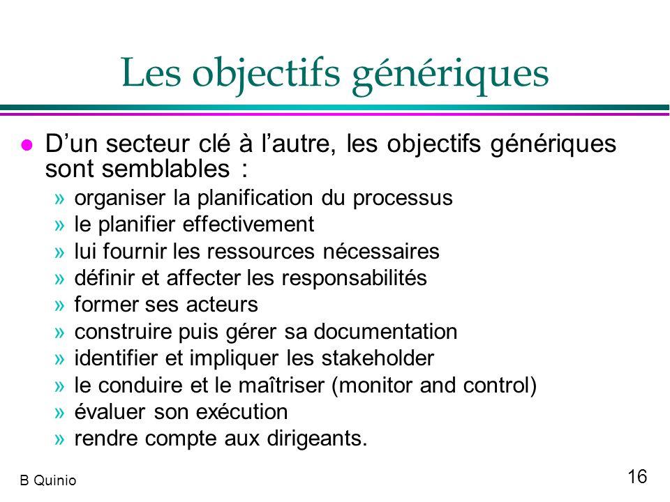 Les objectifs génériques