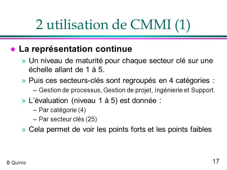 2 utilisation de CMMI (1) La représentation continue