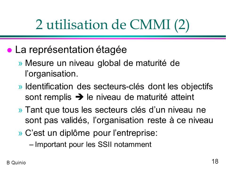 2 utilisation de CMMI (2) La représentation étagée