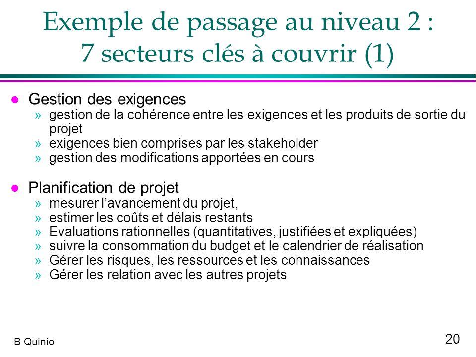 Exemple de passage au niveau 2 : 7 secteurs clés à couvrir (1)