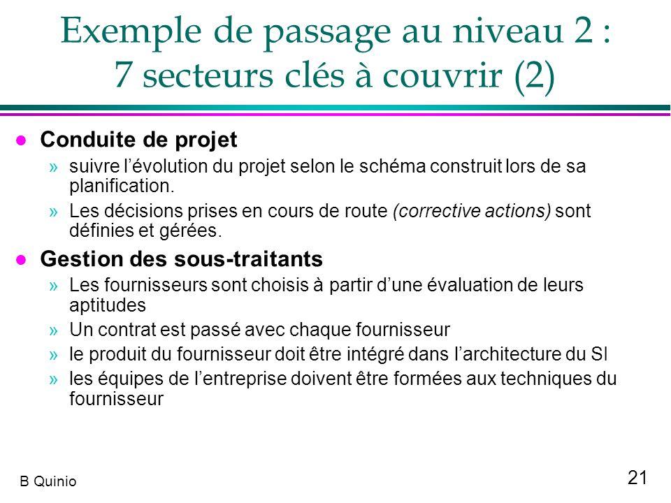 Exemple de passage au niveau 2 : 7 secteurs clés à couvrir (2)