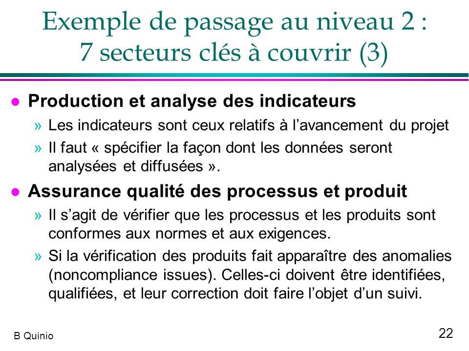 Exemple de passage au niveau 2 : 7 secteurs clés à couvrir (3)