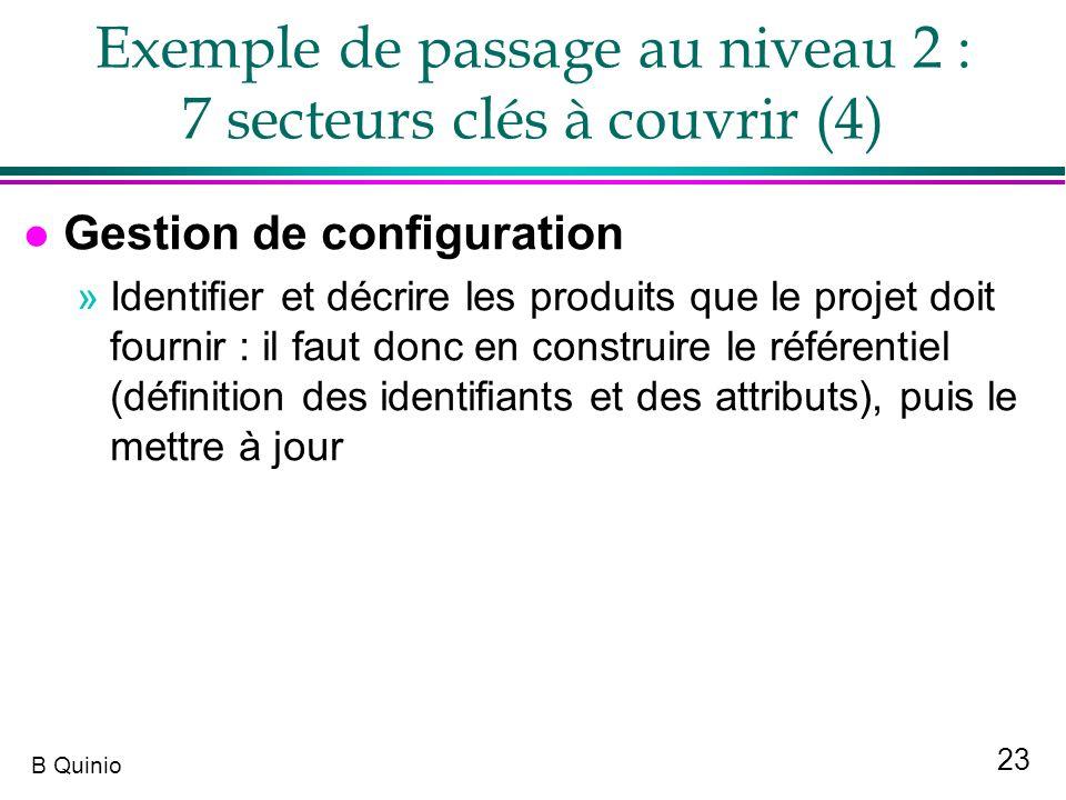 Exemple de passage au niveau 2 : 7 secteurs clés à couvrir (4)