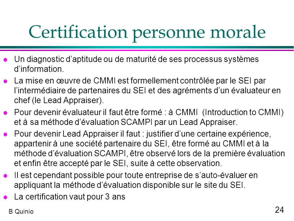 Certification personne morale