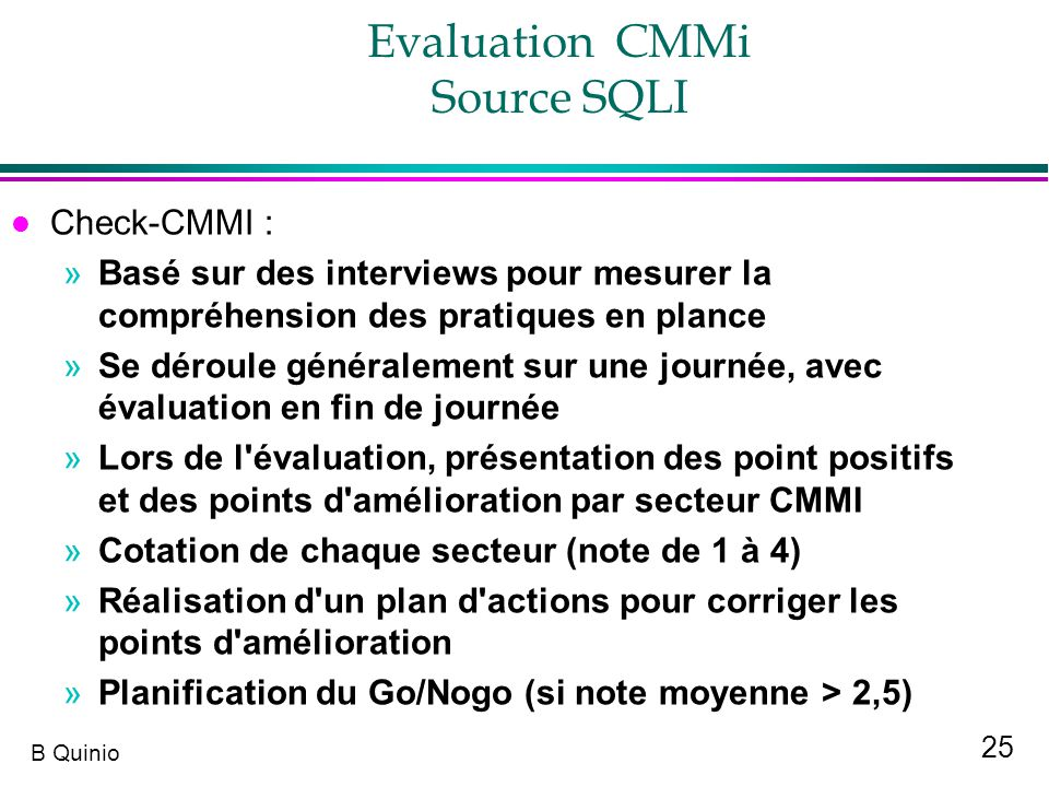 Evaluation CMMi Source SQLI