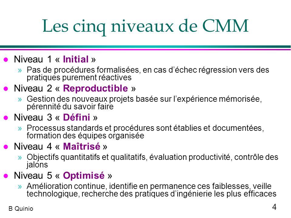 Les cinq niveaux de CMM Niveau 1 « Initial »