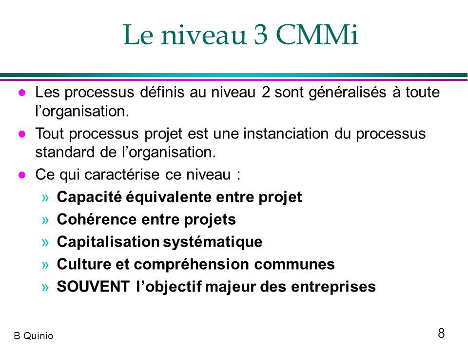 Le niveau 3 CMMi Les processus définis au niveau 2 sont généralisés à toute l'organisation.