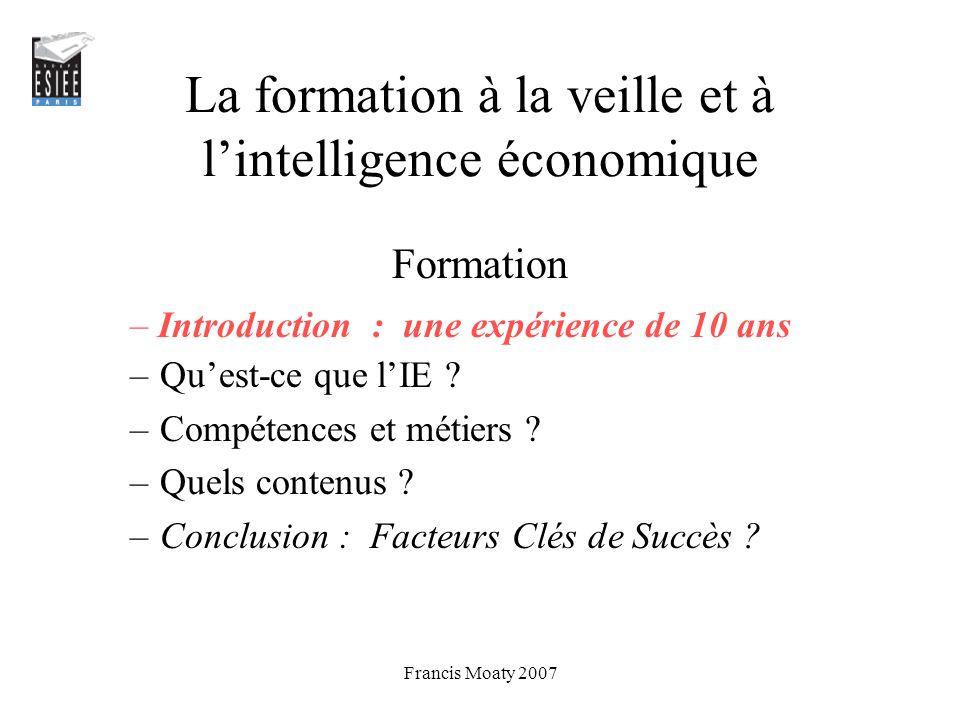 La formation à la veille et à l'intelligence économique