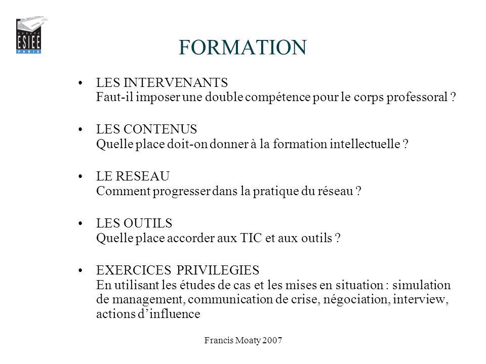 FORMATION LES INTERVENANTS Faut-il imposer une double compétence pour le corps professoral