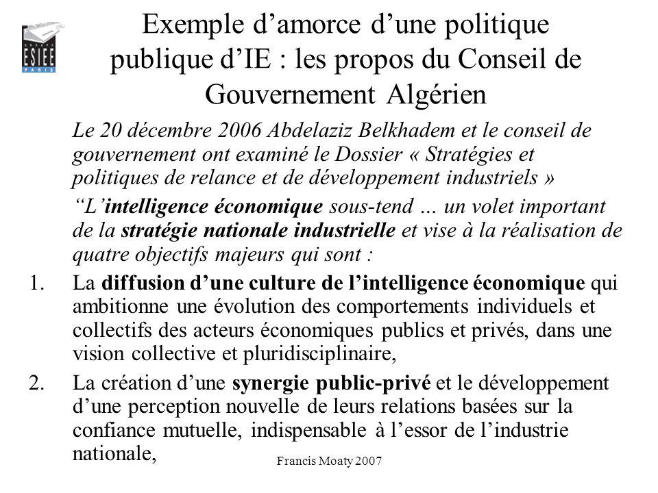 Exemple d'amorce d'une politique publique d'IE : les propos du Conseil de Gouvernement Algérien