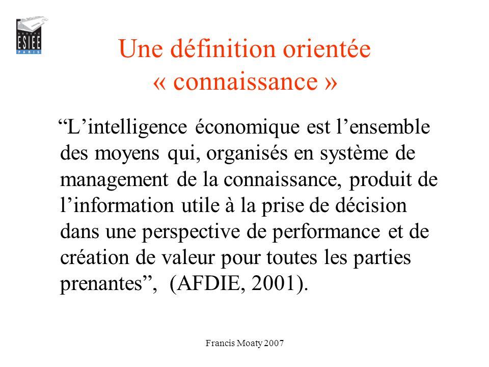 Une définition orientée « connaissance »