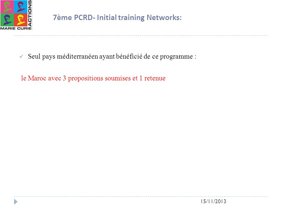 7ème PCRD- Initial training Networks: