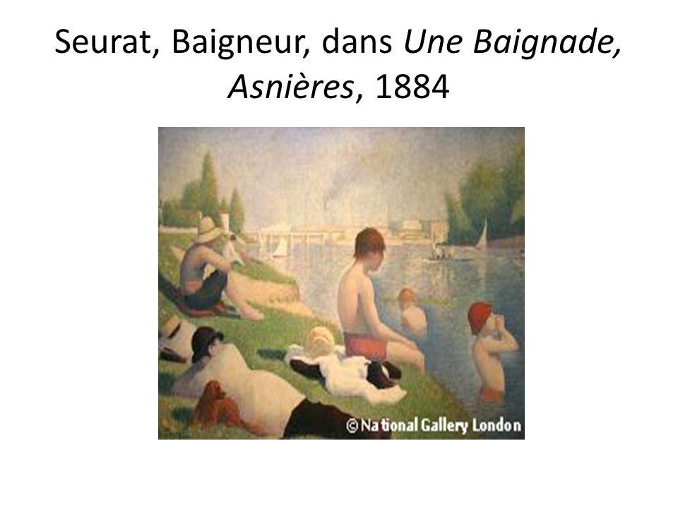 Seurat, Baigneur, dans Une Baignade, Asnières, 1884