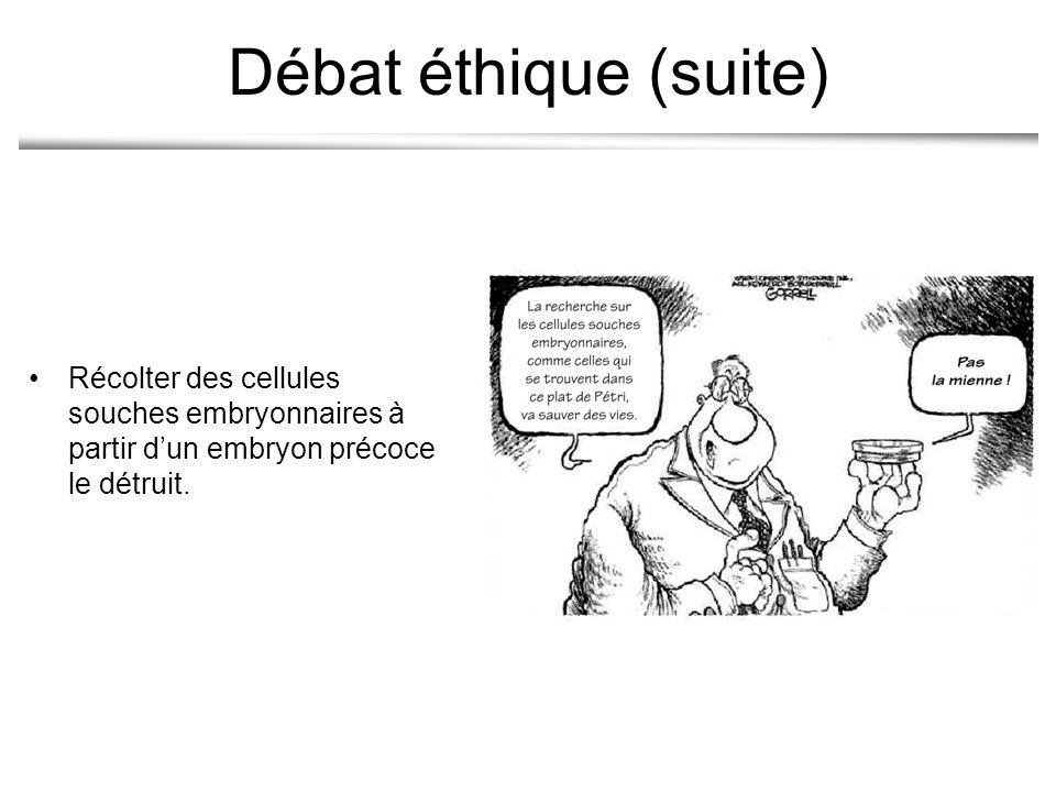 Débat éthique (suite) Récolter des cellules souches embryonnaires à partir d'un embryon précoce le détruit.
