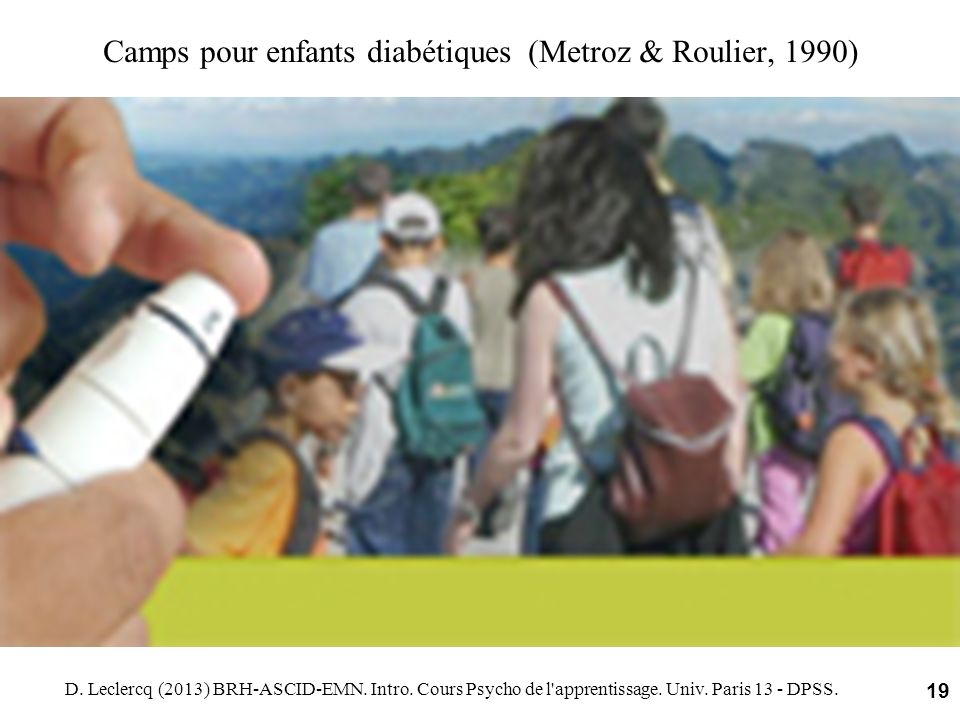 Camps pour enfants diabétiques (Metroz & Roulier, 1990)