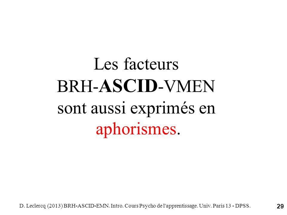 Les facteurs BRH-ASCID-VMEN sont aussi exprimés en aphorismes.