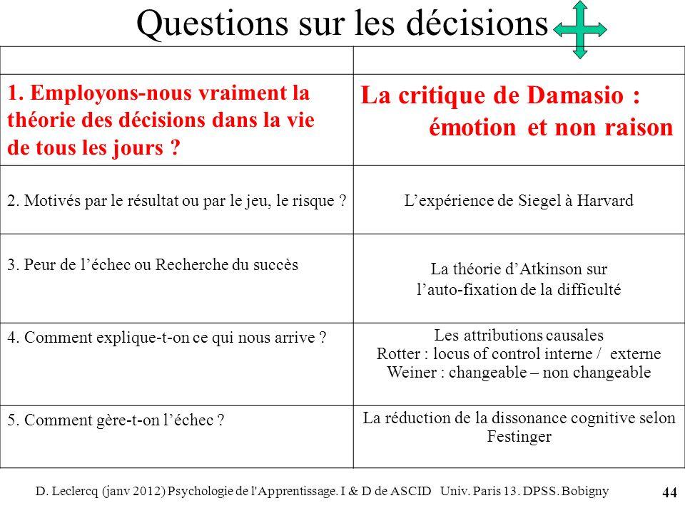 Questions sur les décisions
