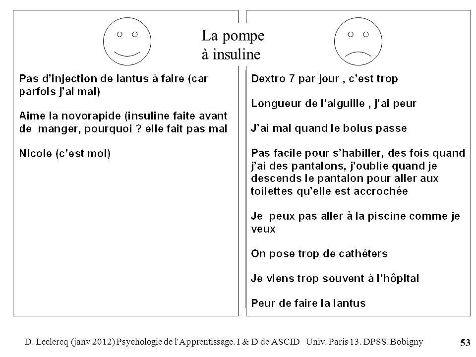 La pompe à insulineD.Leclercq (janv 2012) Psychologie de l Apprentissage.