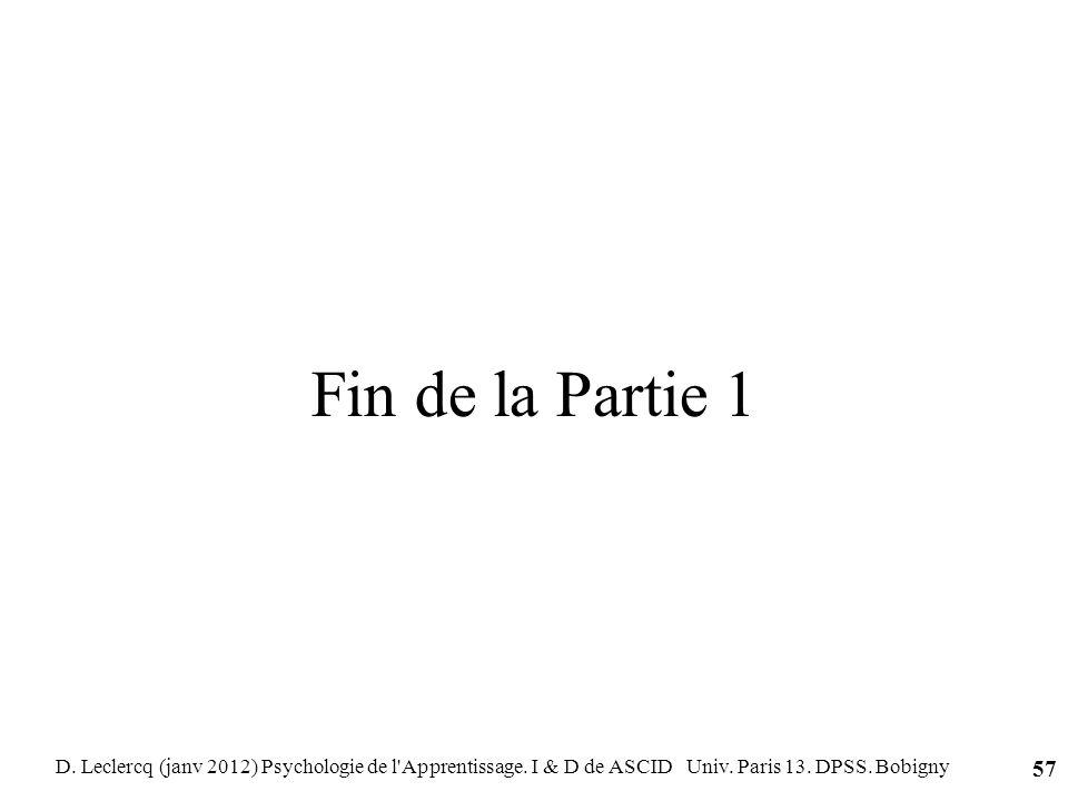 Fin de la Partie 1 D. Leclercq (janv 2012) Psychologie de l Apprentissage.