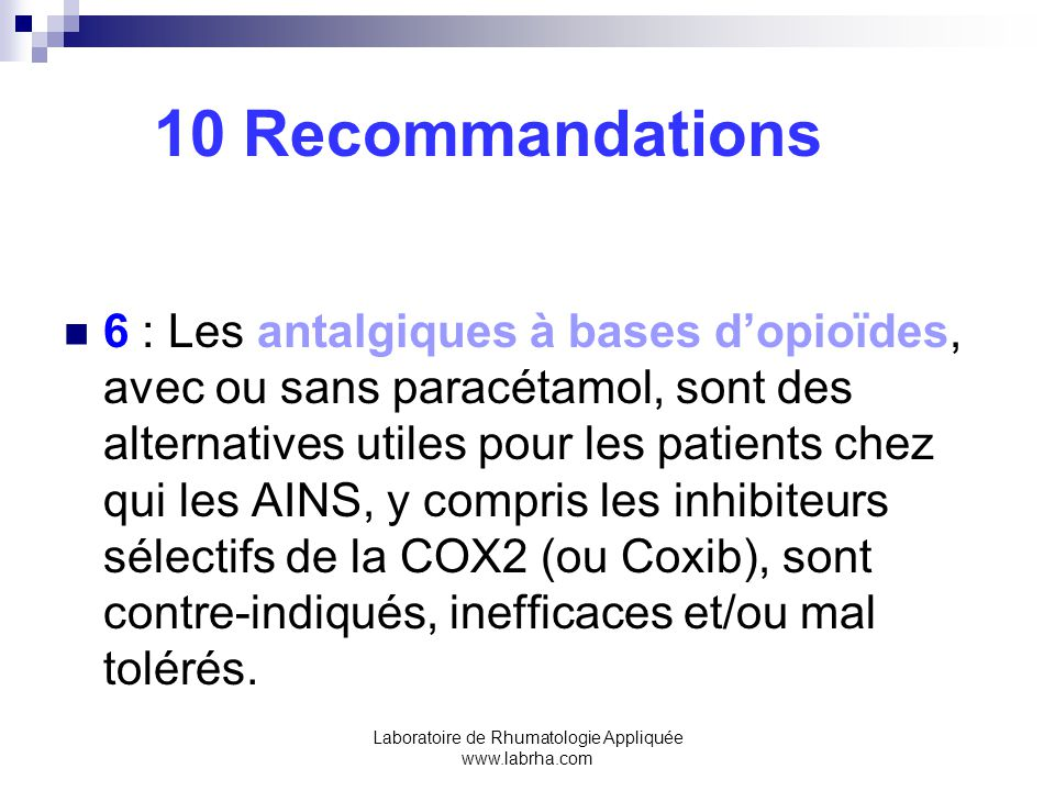 Laboratoire de Rhumatologie Appliquée www.labrha.com