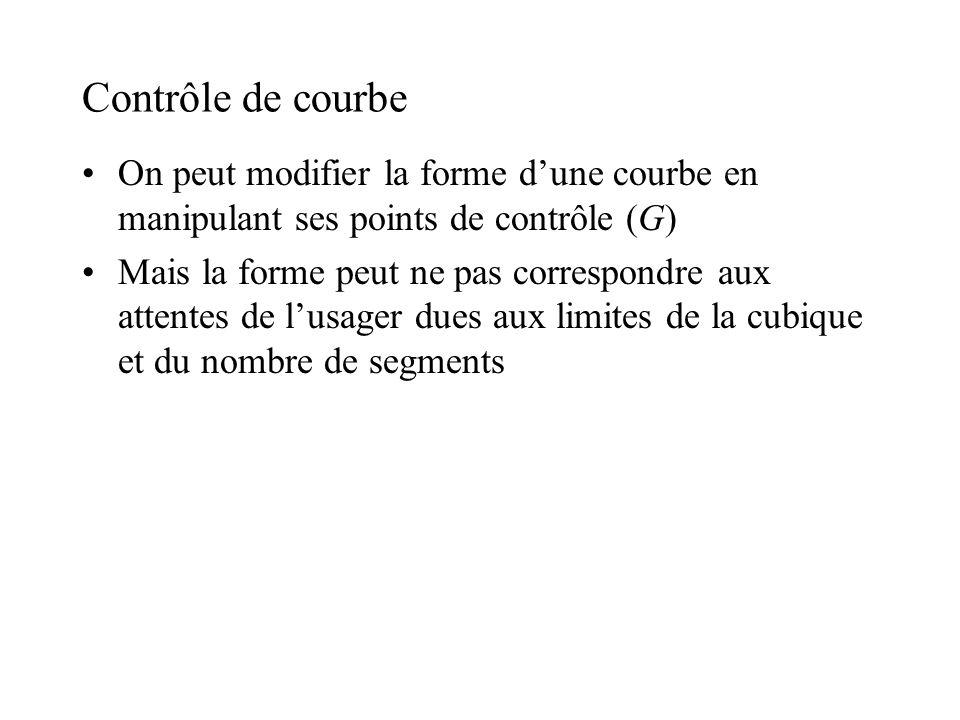 Contrôle de courbe On peut modifier la forme d'une courbe en manipulant ses points de contrôle (G)