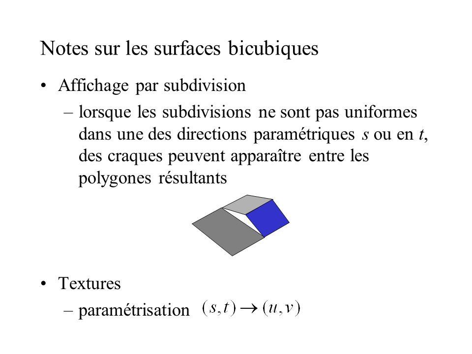 Notes sur les surfaces bicubiques