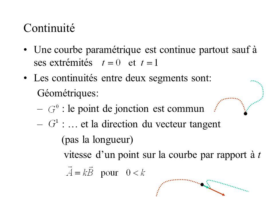 Continuité Une courbe paramétrique est continue partout sauf à ses extrémités. Les continuités entre deux segments sont: