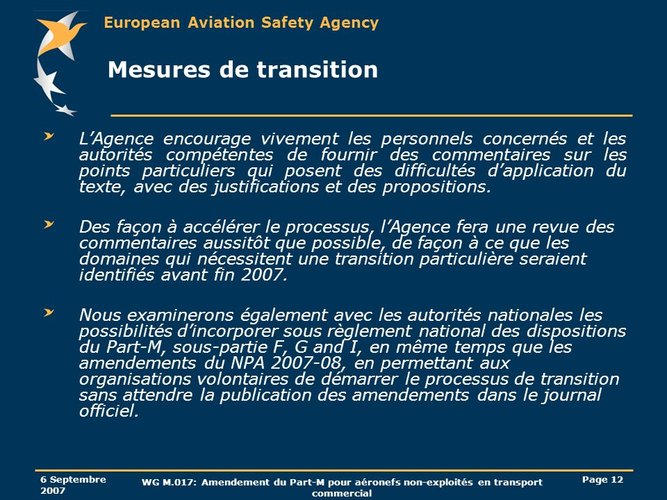 Mesures de transition
