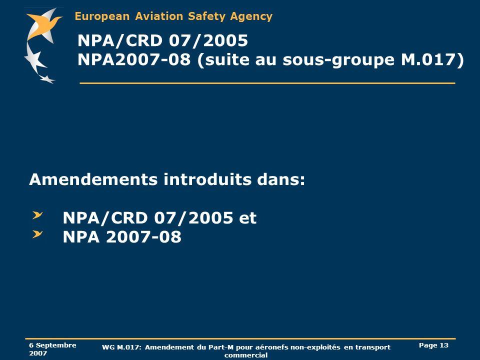 NPA/CRD 07/2005 NPA2007-08 (suite au sous-groupe M.017)