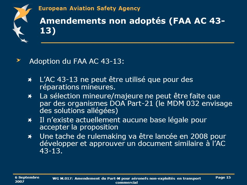 Amendements non adoptés (FAA AC 43-13)