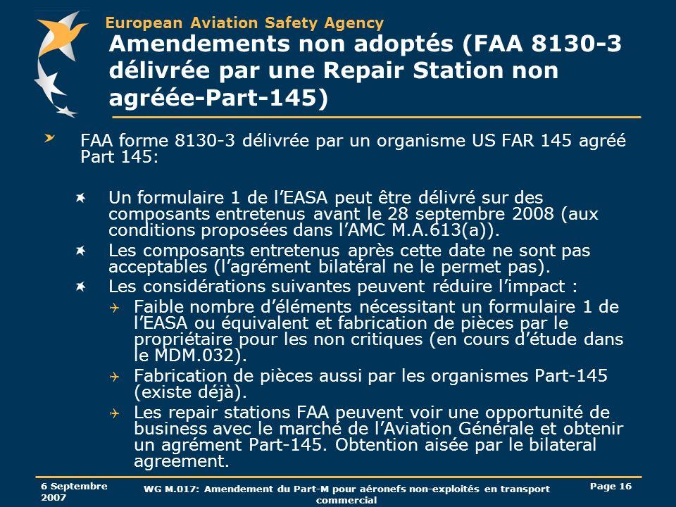 Amendements non adoptés (FAA 8130-3 délivrée par une Repair Station non agréée-Part-145)