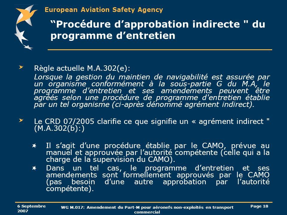 Procédure d'approbation indirecte du programme d'entretien