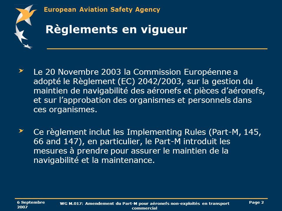 Règlements en vigueur