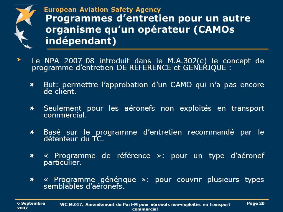 Programmes d'entretien pour un autre organisme qu'un opérateur (CAMOs indépendant)