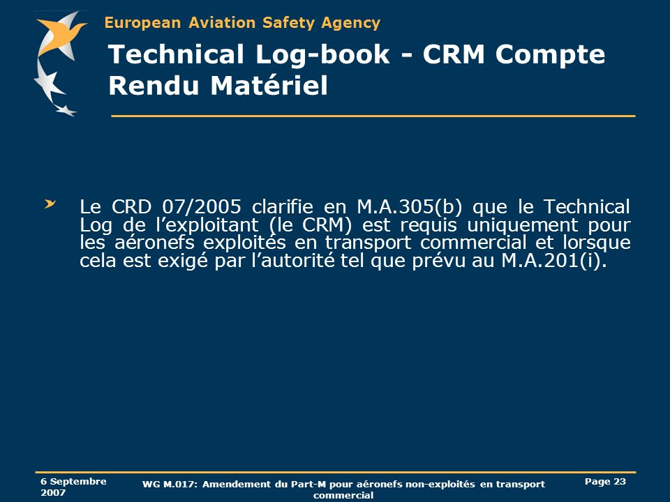 Technical Log-book - CRM Compte Rendu Matériel