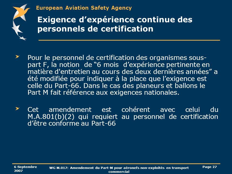 Exigence d'expérience continue des personnels de certification