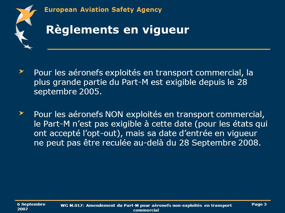 Règlements en vigueurPour les aéronefs exploités en transport commercial, la plus grande partie du Part-M est exigible depuis le 28 septembre 2005.