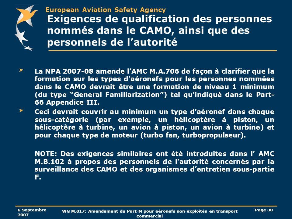 Exigences de qualification des personnes nommés dans le CAMO, ainsi que des personnels de l'autorité