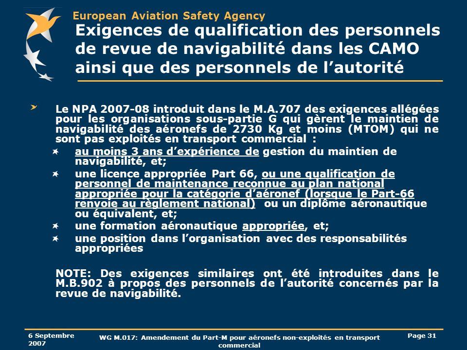 Exigences de qualification des personnels de revue de navigabilité dans les CAMO ainsi que des personnels de l'autorité